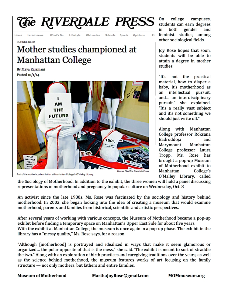 Mother Studies in the press